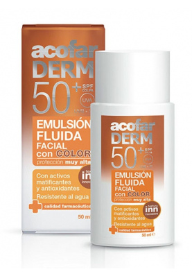 ACOFARDERM Emulsión Fluida Facial con Color SPF50 50ml