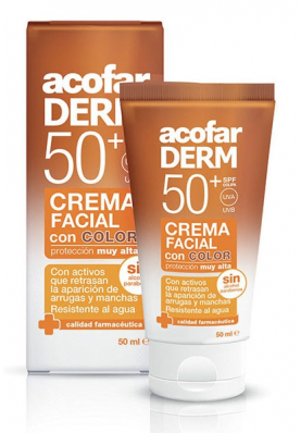 ACOFARDERM Crema Facial con Color SPF50 Antiarrugas y Antimanchas 50ml