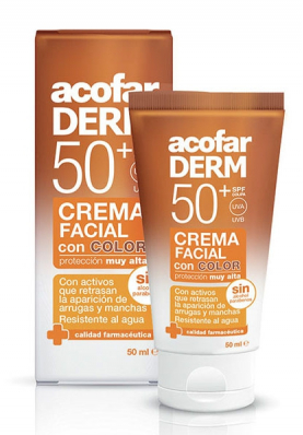 ACOFARDERM Crema Facial con Color SPF50 Antiarrugas 50ml