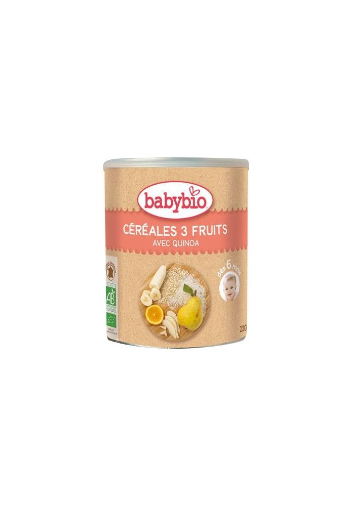 BABYBIO Cereales 3 frutas +6 meses 220g