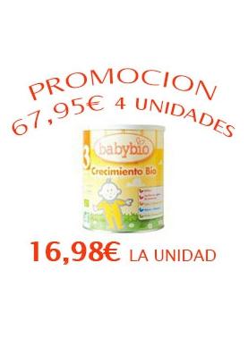 BABYBIO 3 Leche Crecimiento 4x900g 16,98€/UNIDAD