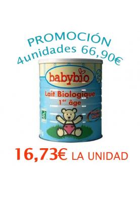 BABYBIO 1 Leche Inicio 0-6meses 4x900g 16,73€/UNIDAD