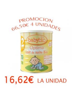BABYBIO 2 Leche de continuación +6 meses 4x900g 16,62€/UNIDAD