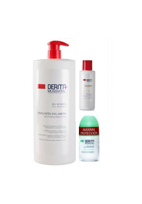 MUSSVITAL PROMOCIÓN Gel de baño Piel Sensible 1L + Desodorante Piel sensible + Leche hidratante 100ml