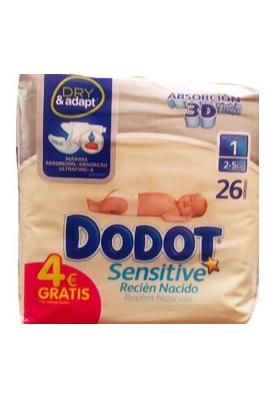 DODOT Pañal Sensitive recién nacido Talla 1 2-5kg 26 uds.